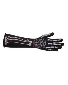 Underwraps Skeleton Gloves Long Gloves, Black White Red, One-Size