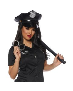 Police Hat Baton Handcuffs 3pc Costume Accessory Set, Black SIlver, One-Size