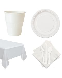 Football Team Spirit Super Bowl 72pc 12 Guests Party Tableware Set, White