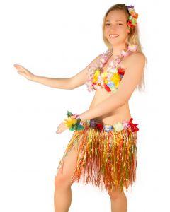Hawaiian Luau Hula Girl Grass Skirt Flower Bra 5pc Women Costume, Rainbow
