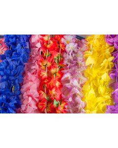 100 Piece Assorted Hawaiian Flower Fabric Luau Leis Mega Party Pack