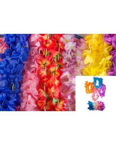 100 Pc Assorted Fabric Hawaiian Flower Leis, Headband, Wristlet Hula Mega Pack