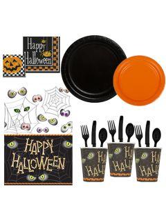 Deluxe Happy Halloween Bones 81pc 8 Guests Party Tableware Set, Orange Black