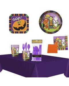Deluxe Little Monsters Halloween Family 81pc 8 Guests Party Tableware Set