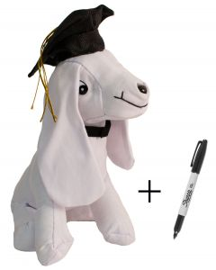 9.5in Tall Plush Graduation Grad Cap Signature Autograph Dog w Sharpie