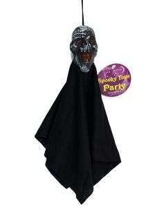 Shrunken Head Cloaked Zombie Monster 12 in Decoration Prop, Black Grey