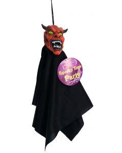 Veil Entertainment Shrunken Head Cloaked Demon 12 in Decoration Prop, Red Black