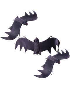 Veil Entertainment Black Halloween Bats 11 in Decoration Prop, Black, 3 CT