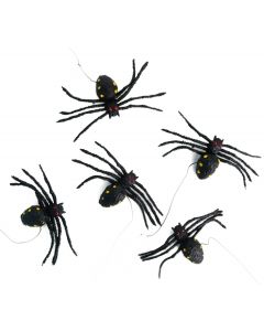 Veil Entertainment Halloween Spiders Hanging  4 in Decoration Prop, Black, 5 CT