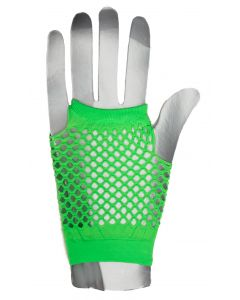 Fingerless Rave Neon 80's Costume Fishnet Gloves, One-Size, Green