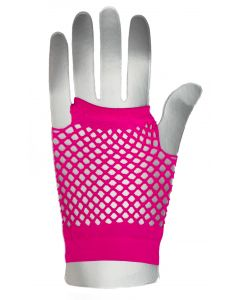 Fingerless Rave Neon 80's Costume Fishnet Gloves, One-Size, Hot Pink