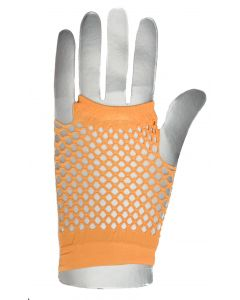 Fingerless Rave Neon 80's Costume Fishnet Gloves, One-Size, Orange