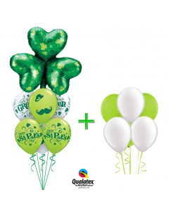 St Patrick's Green on Moustache Bouquet 14pc Balloon Pack, Green Lime White