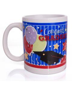 Congrats Graduate Cap Balloons and Stripes 12 oz Mug in Giftbox, Blue