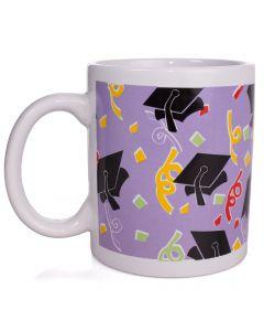 Grad Caps Confetti Graduation Present 12oz Mug in Gift Box, Purple Black