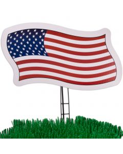 "4th of July Yard American Flag 21"" Patriotic Sign Decoration, Red White Blue"