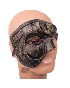 Steampunk Phantom Costume Face Half Mask, Gold, One-Size Adult
