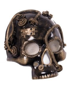 Steampunk Skull Gears Halloween Costume Face Mask, Gold, One-Size Adult