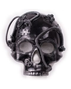 Steampunk Skull Gears Halloween Costume Face Mask, Silver, One-Size Adult