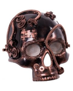 Steampunk Skull Gears Halloween Costume Face Mask, Bronze, One-Size Adult