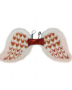 Angel or Devil Costume Fur Trim Glitter Wings, White Gold Red, One Size 17""