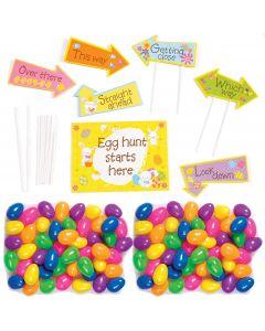 117pc Egg Hunt Yard Sign Decorations & Spring Color Plastic Easter Eggs Kit