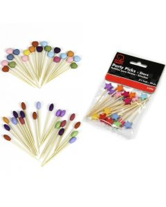 """Veil Entertainment Wooden Party Snack Supplies 60pc 2.5"""" Food Picks"""