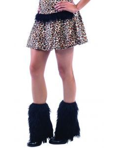 Leopard Hood and Leg Warmers 3pc Costume Accessory Set, Black Tan, Medium
