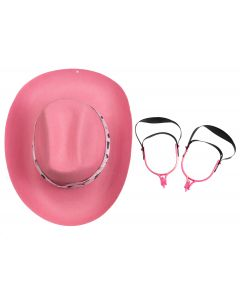 Cowgirl Hat and Spurs 3pc Costume Accessory Set, Pink black, One-Size