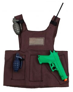 Military Police Vest And Gear 4pc Costume Accessory Set Grey Small