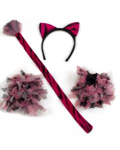 Halloween Striped Tiger 4pc Costume Accessory Set, Pink Black, One-Size