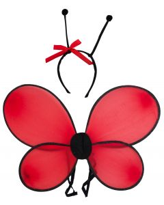 Ladybug Wings And Antennas 2pc Costume Accessory Set Red One Size