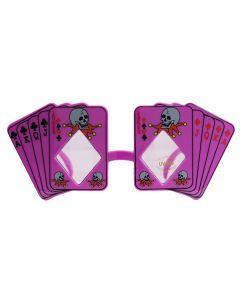 Skull Poker Playing Cards Costume Novelty Sunglasses, Purple Black Frame, OS