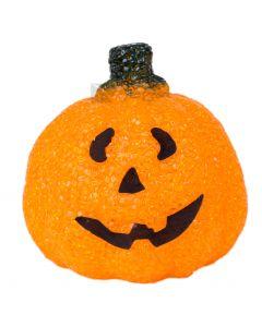 "Light Up Soft Pumpkin Halloween Tabletop Decor 5"" LED Decoration, Orange"