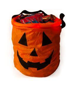 """Light Up Pumpkin Halloween Safety 12"""" LED Trick or Treat Bag, Orange"""