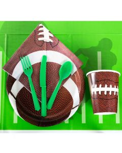 Champion Tailgate Football Party Tableware 57pc Party Pack, Brown Green White