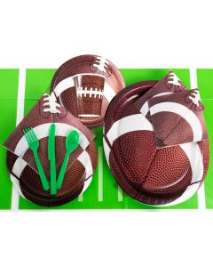 Championship Football Party Tableware Deluxe 83pc Party Pack, Brown Green White