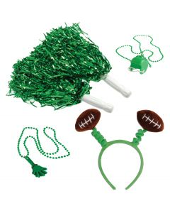 Football Fan Party Cheering Supply 4pc Party Pack, Green White Brown