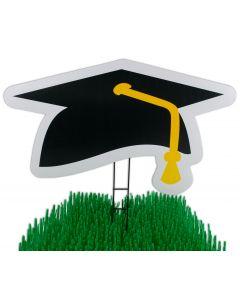 "My Yard Card Grad Cap Graduation Decor 21"" Yard Sign, Black White"