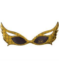 Design Masquerade Winged Costume Sunglasses, Gold Black Frame, Black Lens