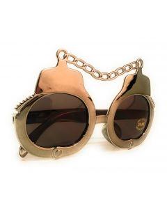 Handcuff UV400 Costume Sunglasses, Black Silver Frame, Black Lens