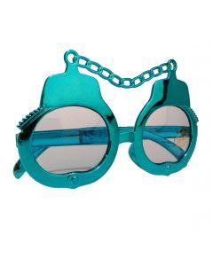 Veil Entertainment Handcuff UV400 Costume Sunglasses, Blue Frame, Blue Lens