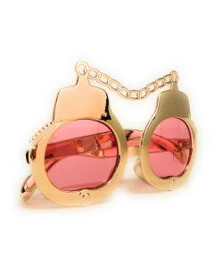 Handcuff UV400 Costume Sunglasses, Rose GLD Frame, Pink Lens