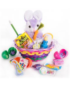 "Bunny with Carrot Plush Toy w Treats 26pc 8"" Easter Basket Gift Set, Purple"