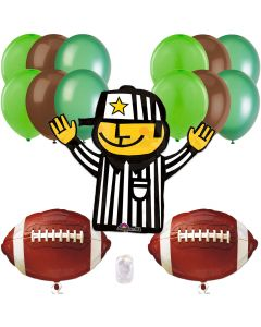 Football Frenzy Super Bowl Party Bouquet 14pc Balloon Pack, Green Brown