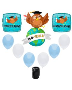 Congratulations Hello World Smart Owl Graduation 9pc Balloon Pack, Blue Brown