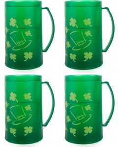 St Patrick's Day Freezer Beer Mug 16pc 12 oz Plastic Cups, Green