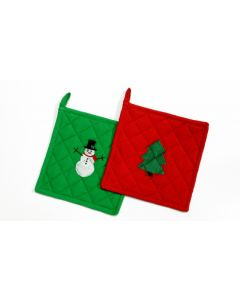 "Festive Christmas Tree and Snowman 8"" Pot Holder Gift Set, Green Red"