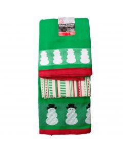 "Minimalist Snowman 3pc 18"" Kitchen Towel Set, Green Red Off-White"
