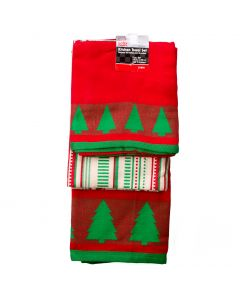 "Minimalist Christmas Tree 3pc 18"" Kitchen Towel Set, Red Green Off-White"